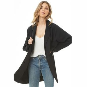 Forever 21 Longline Open-Front Jacket Black NWT